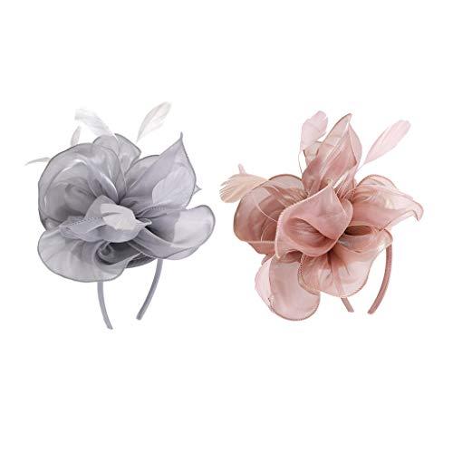 Baoblaze 2x Femmes élégantes Fascinator chapeau nuptiale cheveux clip accessoires Mariage Formal Occasion