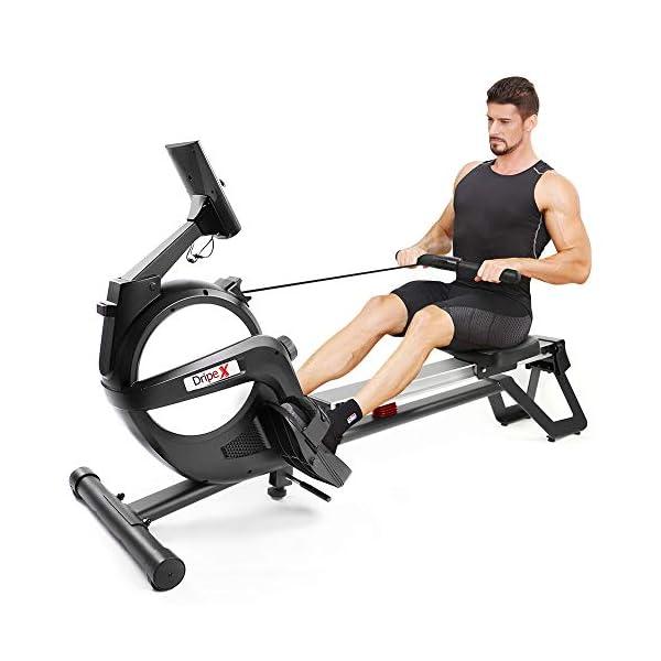 man on a dripex rowing machine