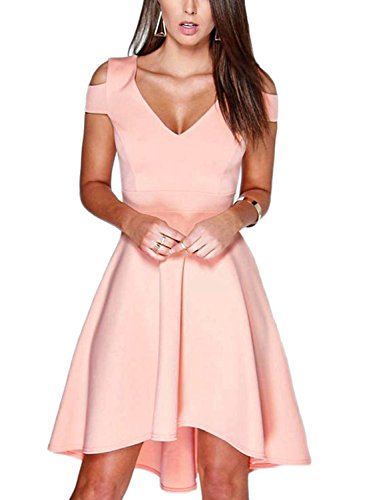 YOINS sexy zomerjurk dames elegante schoudervrij V-hals jurk off-shoulder casual knielange partyjurk