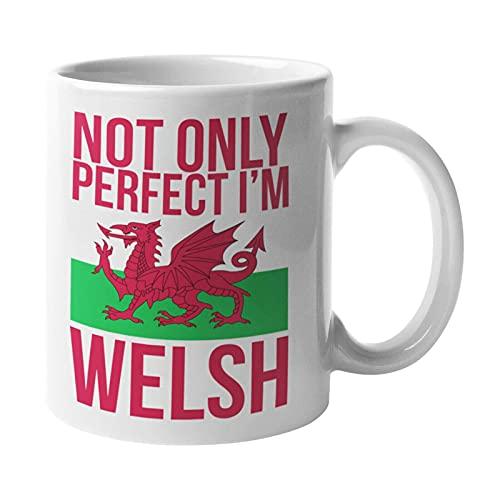 Taza divertida con texto en inglés «Not Only Perfect Im Welsh», regalo para Papá Him Cymru Rugby
