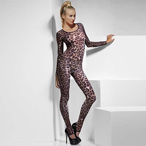 Amakando Zauberhafter Catsuit Leopard für Damen / Braun S/M (34 - 40) / Geparden Frauen-Outfit Raubkatze / Perfekt geeignet zu Mottoparty & Kostümfest