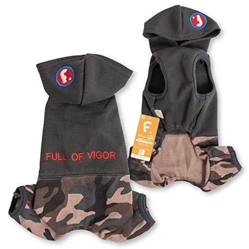 犬猫の服 full of vigor Fワッペン迷彩裏毛パーカーつなき 小型犬用 カラー 12 ベージュ サイズ NSつなぎ オールインワン フルオブビガー