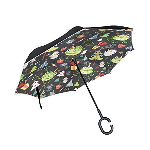 Reverso con Mango en Forma de C Flash a Prueba de Viento Textura navideña de Ranas Doble Capa Invertida para Lluvia Paraguas al Aire Libre