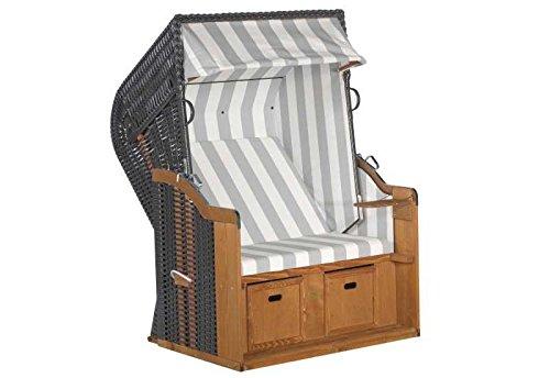 Sunny Smart Strandkorb Rustikal 250 Basic Stoff-Nr. 210, Halbliegemodell Außenmaß (B x T): 125 x 90 cm Gesamthöhe: 160 cm Geflecht: Kunststoffgeflecht anthrazit Ausführung: Halbliegemodell Stoff: Nr. 210, grau-weiß gestreift