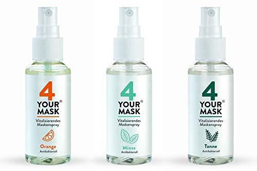 4 YOUR MASK® - vitalisierendes Maskenspray Orange, Minze und Tanne im 3er-Set, je 50 ml, langanhaltender Duft, extra Frische-Kick für die Mund-Nasen-Bedeckung, für 150 Anwendungen