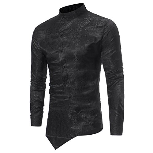 Mens casual shirts fancy dress slim fit floral shirt Material:cotton/polyester,cool,slim fit,soft and comfortable,perfect for daily wear or relaxing weekends This stylish floral shirts features grandad collar,button bown and long sleeves.The collar f...
