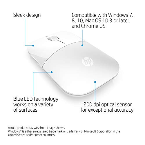 HP Z3700 (V0L80AA) kabellose Maus (1200 optische Sensoren, bis zu 16 Monate Batterielaufzeit, USB Anschluss, Plug&Play) weiß