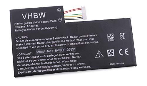 vhbw Batterie 5340mAh (3.7V) pour PC Acer Iconia Tab A1-A810, W4-820P comme AC13F3L, AC13F8L.