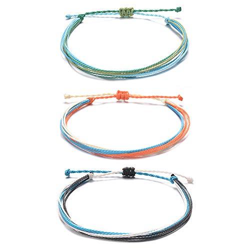 Tarsus String Ankle Bracelet for Women Teen Girls Yarn Rope Wax Layered 3 Anklet Set