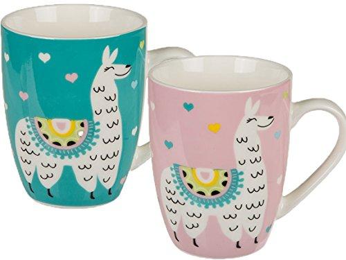 Bada Bing 2er Set Tassen Kaffeebecher Lama Rosa Mint Becher Für Kinder und Erwachsene Kinderbecher Kaffeetasse Sommer Trend Deko 2fach Sortiert 27