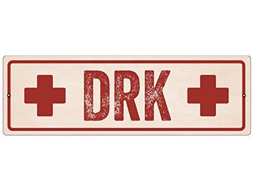 Interluxe Kunststoffschild mit Saugnapf DRK Deutsches Rotes Kreuz Hinweisschild Shabby
