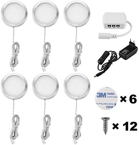 Lightess 6Pezzi Lampada per Armadio LED per Armadio Lampada da Lavello per Cucina Luce Notturna per Vetrina Guardaroba Camera da Letto