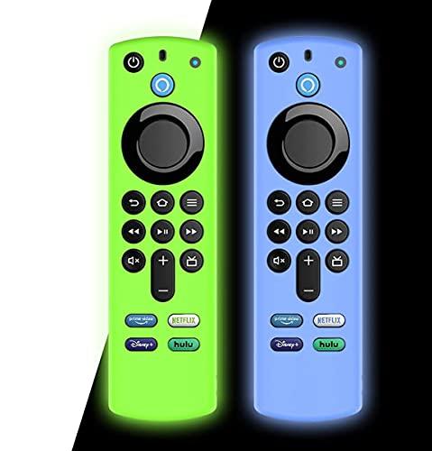 AIYAAIYA 2 PZ Custodia protettiva per telecomando vocale Alexa (3rd Gen) 2021, custodia in silicone per telecomando Fire TV Stick 4K con corda anti-perdita (Bagliore Blu+Bagliore Verde)