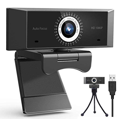 AutoFocus Full HD Webcam 1080P with Microphone,1080P Webcam for PC, HD 1080P Webcam with Microphone for Desktop, Laptop, MAC, USB Computer Camera for Youtube, Skype Video Calling, Studying, Conference