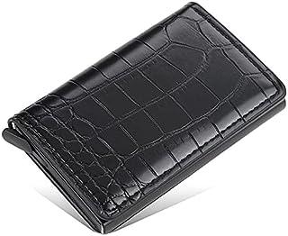 محفظة بايليري جلد مع كراتة ألومنيوم بزر أتوماتيكي لخروج البطاقات بشكل تدريجي تحمل حتى 7 بطاقات - اسود