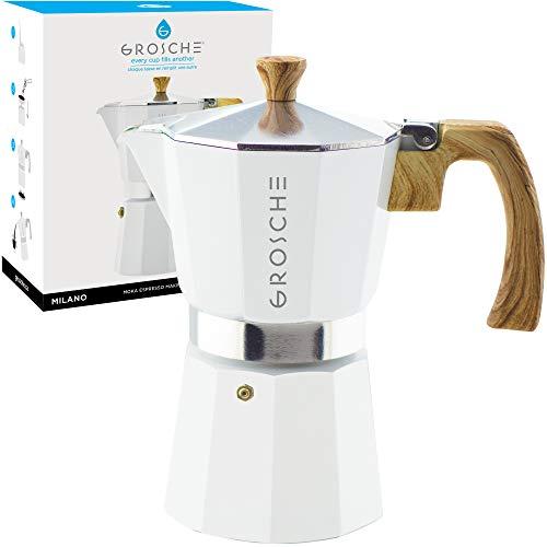 GROSCHE Milano Stovetop Espresso Maker Moka Pot 6 espresso Cup - 9.3 oz, White - Cuban Coffee Maker Stove top coffee maker Moka Italian espresso greca coffee maker brewer percolator