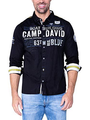 Camp David Herren Twill-Hemd mit Logo Print und Stickereien