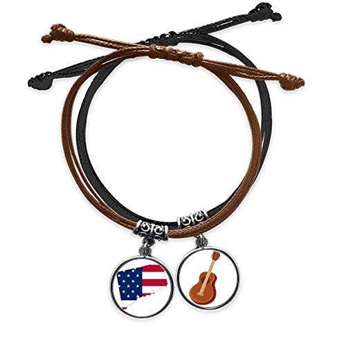 DIYthinker Connectic USA Mapa Estrellas Tripas Bandera Forma Pulsera Cuerda Mano Cadena Cuero Guitarra Pulsera