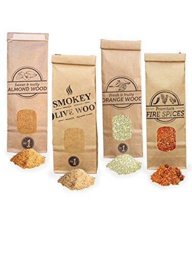 Smokey Olive Wood 4X 300ml, serrín de Madera para ahumar, Olivo + Haya, Naranjo, Almendro, y Fire Spices