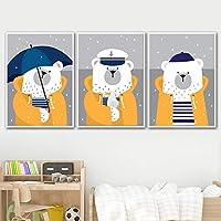 子供の壁の装飾クマの絵をキャンバスにかわいい壁のアートポスタープリント3パネル保育園の写真ベビールームの装飾フレームなし