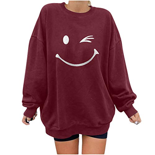 Womens Smiley Face Crewneck Sweatshirt Casual Long Sleeve Oversized Pullover Tops Inspirational Graphic Print Shirt Wine