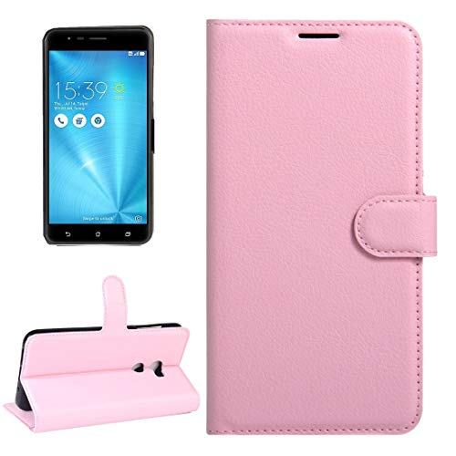 SHUFEIVICC - Funda de piel con tapa horizontal para ASUS ZenFone 3 Zoom y ZE553KL Litchi con hebilla magnética, soporte y ranuras para tarjetas y cartera (color: rosa)