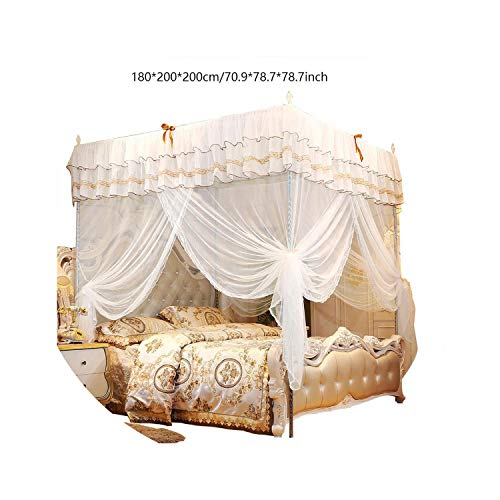 Love Me More-bed-frame-draperies White Luxury Lace Three Door Princess Mosquito Net Curtain Canopy Netting Mosquito NetBedding Queen King Size Bedding Article,White,180X200X200cm