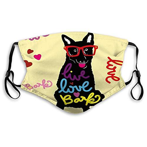 Mundschutz Mundabdeckung Gesichtsschrott Vintage stilvoller Hund in Sonnenbrillen Live Love Bark Waschbarer wiederverwendbarer Gesichtsschal-QH