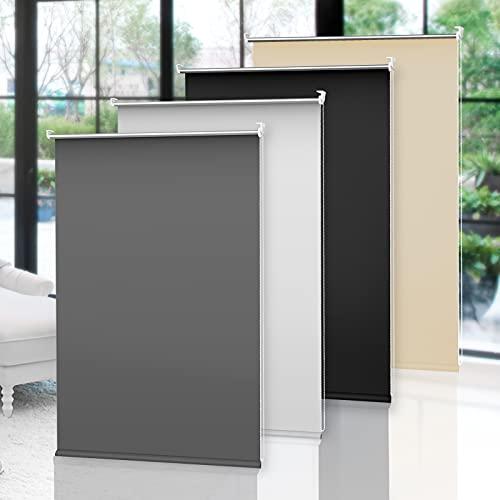 OBdeco Estor opaco Klemmfix térmico, 60 x 210 cm, color gris, sin agujeros, revestimiento plateado, protección visual, para ventanas y puertas