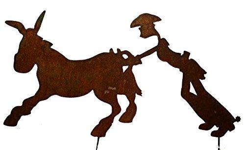RDI Cowboy Esel stehend Edelrost Metall Gartenfigur Gartenstecker Figur, Gartendeko