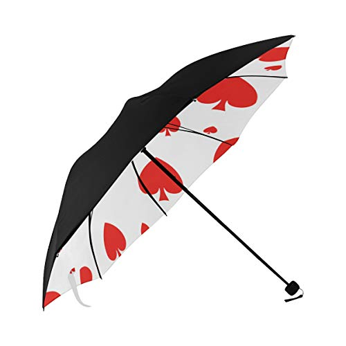 Best Foldable Umbrella Poker Paper Number Games Underside Printing Sun Umbrella Chair Reverse Umbrella Travel Tour Umbrella With 95% Uv Protection For Women Men Lady Girl