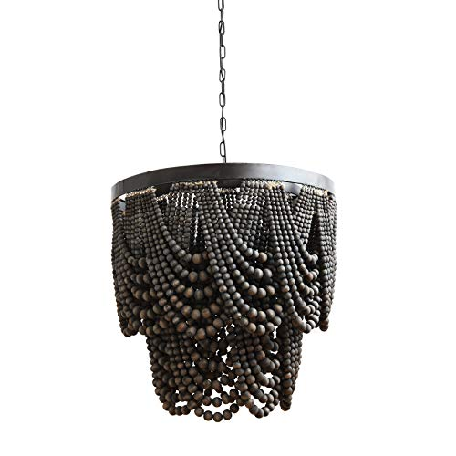Beaded Chandelier Rustic Farmhouse Boho Light Fixture with Wooden Beads – 2-Tier Draped Bead Chandelier