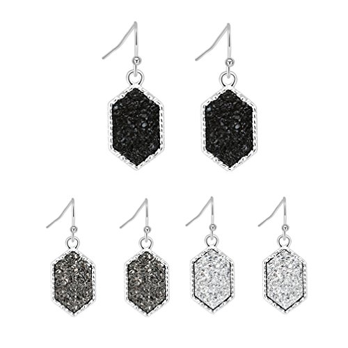 Colorful Faux Druzy Drop Earrings Hexagon Dangle Drusy Stone Jewelry Girls Silver Plated Anniversary Gift (Silver+black/white/gray)