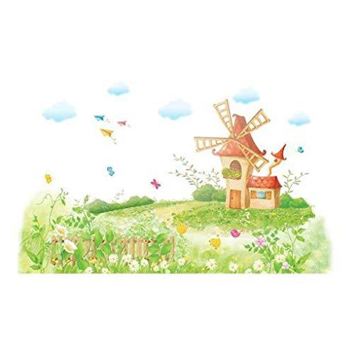 Mode Étanche Autocollant Mural DIY Amovible Art Papier Peint pour Bébé Garçon Fille Chambre Cuisine Fenêtre,Beautiful Windmill Village