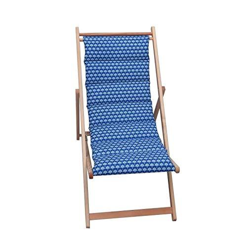 JARDIN PRIVE Chilienne matelassée Helsinki - Toile Amovible - Bleu Indigo