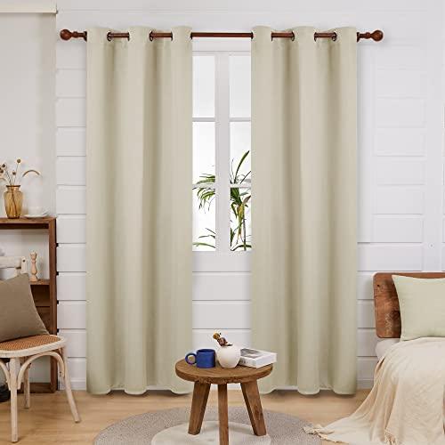 Deconovo grommet blackout curtains for bedroom, room darkening thermal...