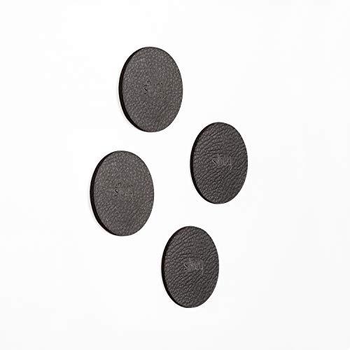 silwy Metall-Nano-Gel-Pads ANTHRAZIT in Lederoptik, Zubehör für Magnete, Türstopper, Magnetpinwand