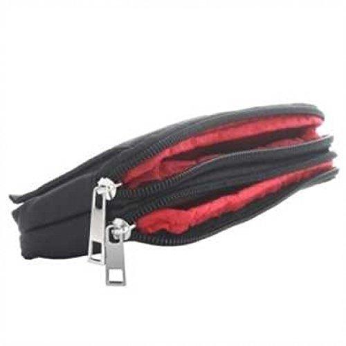 Horizontal Stofftasche m. 2 Reißverschlüssen, Klettverschlussfach, Gürtelschlaufe, Größe: M, schwarz