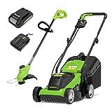 Greenworks Tondeuse à gazon et Coupe-bordure à batterie...