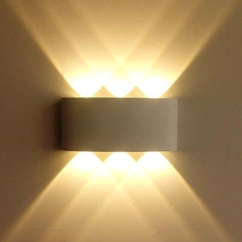 Lightess Wandlampe LED Innen Aussen Wandleuchte Weiß Modern 6W Up and Down IP65 aus Aluminium Warmweiß Wasserdicht 6x120°Ausstrahlungswinkel