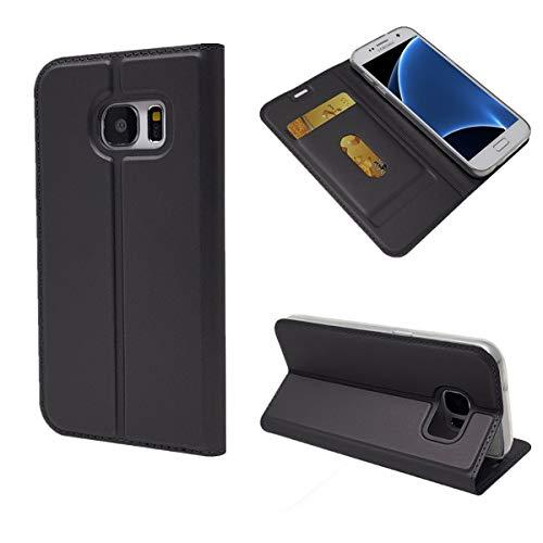 Copmob Funda Samsung Galaxy S7,Ultradelgado Flip Libro Funda de Cuero PU,[Cierre Magnético][1 Ranura][Función de Soporte],Carcasa Case para Samsung Galaxy S7 - Negro
