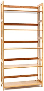 Bookcase Multifunctional Storage Rack 5 Tier Bookshelf Bamboo Natural