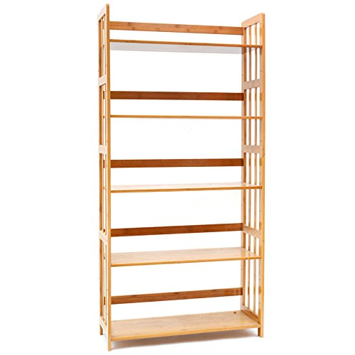 MUGIAZII Bookcase Multifunctional Storage Rack 5 Tier Bookshelf Bamboo Natural