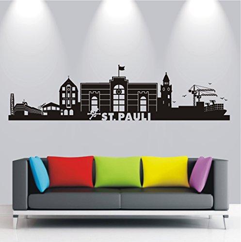 HomeTattoo ® WANDTATTOO Wandaufkleber Skyline St. Pauli Hamburg Stadt Wohnzimmer City 595 XL (L x B) ca. 40 x 165 cm (schwarz 070)