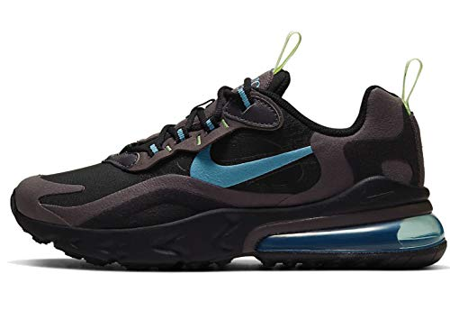 Nike Jungen AIR MAX 270 React (GS) Laufschuh, Black Cerulean Thunder Grey Barely Volt, 38.5 EU