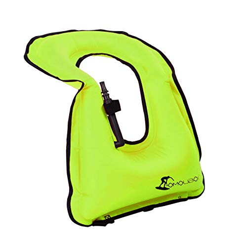 OMOUBOI Snorkel Vest for Adults Swim Vests Inflatable Snorkeling Jackets for Diving, Snorkeling, Swimming Safety (Suitable for 100-220 lbs) (Green)