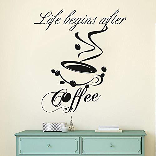Gtfzjb koffie citaat vinyl muursticker keuken cafe winkel decoratie koffiekopje muursticker afneembaar café logo muurkunst muurschildering AY1209 57x64cm