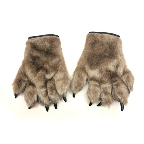 Amosfun Halloween Coss Play Terror Scary Horror Animal Bear Palm Gloves Masquerade Cosplay Gloves Halloween Costumes 1 Pair