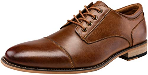 JOUSEN Men's Dress Shoes Leather Mens Oxfords Cap Toe Formal Shoes for Men Classic Modern Derby Shoes (AMY613 Yellow Brown 10)