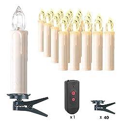 MVPOWER 20er Weinachten LED Kerzen Kabellos Warmweiß Weihnachtskerzen Christbaumkerzen Dimmen Flackern Baumkerze-Set,LED-Lichtfarbe Warmweiß